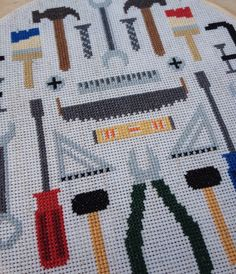 Tools Modern cross stitch pattern PDF Instant by thestitchmill