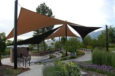 Shade sails over an amphitheater Screening Ideas, Open Air Theater, Shade Sails, Patio Shade, Home Accessories, Sailing, Landscaping, Wicked, Platform