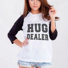 Hug Dealer T-Shirt for Teen Teenage Girls Teenager Blogger Tumblr Instagram Clothes Fashion Shirt Birthday Girlfriends Christmas Gifts