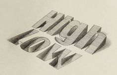 asylum-art:  The awesome 3D typography by Lex WilsonA new selection of the excellent 3D typography creations hand-drawn by the British graphic designer and illustrator Lex Wilson, based in Nottingham.