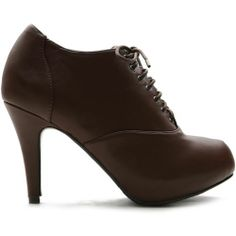 ollio Womens Fashion Ankle High Heels Shoes Lace Ups BROWN Casual Booties US 6
