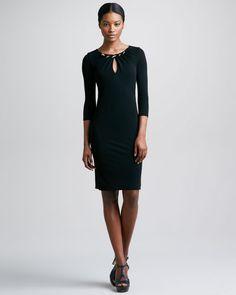 Roberto Cavalli - Three-Quarter-Sleeve Keyhole Dress, Black