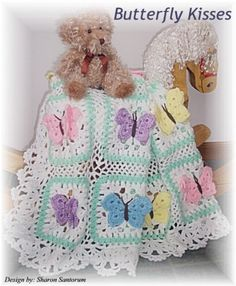 Butterfly Kisses baby afghan or blanket crochet pattern