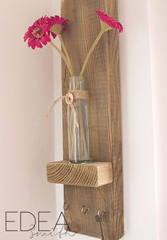 Reclaimed wooden key holder - love the little shelf for a mini vase of flowers