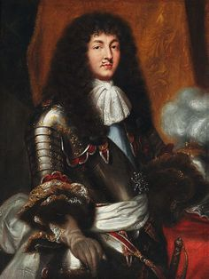 Pierre Mignard (after) - Louis XIV with dark full-bottomed wig and armour