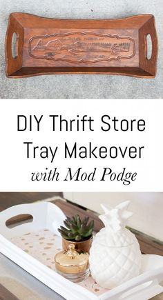 15 Brilliant DIY Thrift Store Crafts You Should Totally Try - how to makeover a . 15 Brilliant DIY Thrift Store Crafts You Should Totally Try – how to makeover a tray from a Upcycled Crafts, Upcycled Home Decor, Diy Crafts, Adult Crafts, Decor Crafts, Plywood Furniture, Diy Furniture, Refurbished Furniture, Furniture Plans