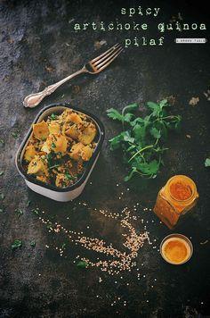 spicy artichoke and tri colored quinoa pilaf | A Brown Table