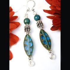 Aqua Blue Earrings Rustic Czech Glass Earthy Spirals Handmade Beaded | PrettyGonzo - Jewelry on ArtFire
