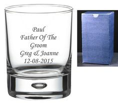 Personalised 8oz Crystal Whisky Glass Wedding Father Of The Bride In Silk Box