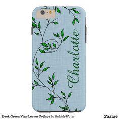 Sleek Green Vine Leaves Foilage Tough iPhone 6 Plus Case