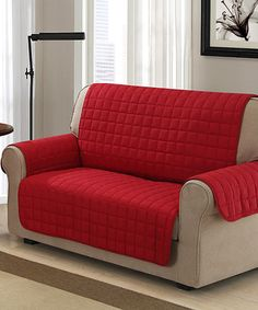 Another great find on #zulily! Chic Home Melinda Box Quilted Quick Drape Chair and Sofa Cover. 100% Waterproof protector Love Seat Furniture Cover Red #zulilyfinds