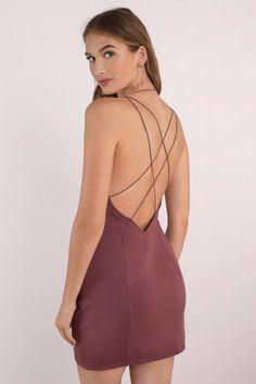 Beverly Marsala Strappy Bodycon Dress