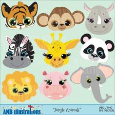 JUNGLE ANIMAL CLIPART SET 273 from Bestteachertools on TeachersNotebook.com - (9 pages) - JUNGLE ANIMAL FACES CLIPART SET, lion clipart, tiger clipart, monkey clipart, zebra clipart, elephant clipart, panda clipart, hippopotamus clipart,
