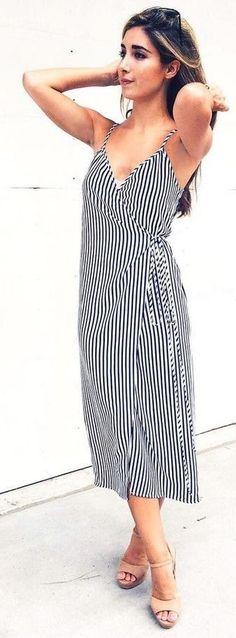 #spring #summer #fashion #outfitideas Little Stripe Wrap Dress