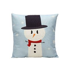 PillowcaseBeautyvan Creative Vintage Christmas Cartoon Smowman Penguin Sofa Bed Home Decoration Festival Cushion Cover blue ** More info could be found at the image url.