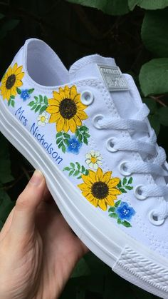 diy shoes Monowhite low top Converse hand painted with a sunflower design and personalised married name Vans Converse, Painted Converse, Painted Canvas Shoes, Custom Painted Shoes, Painted Sneakers, Painted Jeans, Hand Painted Shoes, Painted Clothes, Custom Shoes