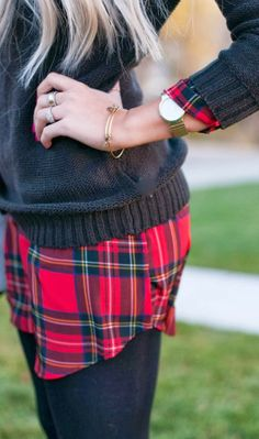 Fall outfit with sweater, flannel and leggings
