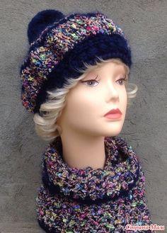 Комплекты, береты и шапки в синих тонах. От светлого до темного. Зима, вьюга, каток, прогулка в зимнем лесу... Приятного просмотра и вдохновения. Turban, Diy And Crafts, Winter Hats, Crochet Hats, Beret, Knitting, Fashion, Head Bands, Beanies