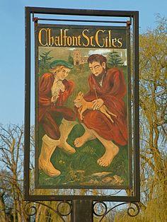 Chalfont St Giles village sign by Thorskegga, via Flickr British Pub, British Isles, Pub Signs, Shop Signs, English Village, Decorative Signs, Signage Design, Street Signs, Antique Shops