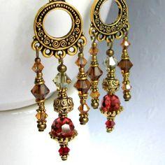 Handmade boho chandelier earrings mixing antiqued brass with crystal by EarringsByKaren on Etsy. http://www.etsy.com/listing/28858885/boho-bling-earrings
