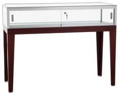Display Table w/ Cherry Legs, Tempered Glass Top & Locking Door