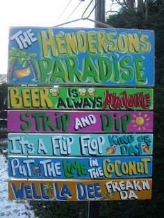 Tropical Welcome Pool Patio House Beach Plaque Sign. $79.95, via Etsy.