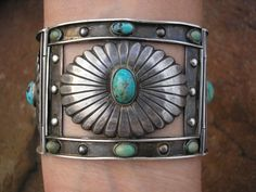 FRED DAVIS TURQUOISE MEXICO MEXICAN TAXCO STERLING SILVER CONCHO LINK BRACELET Listed for $3750