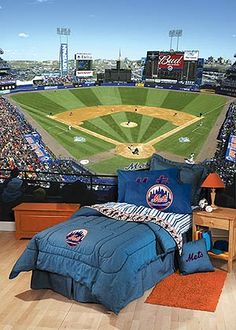 Baseball theme bedroom. How cool would this be for a little boy's bedroom? It could be PNC Park