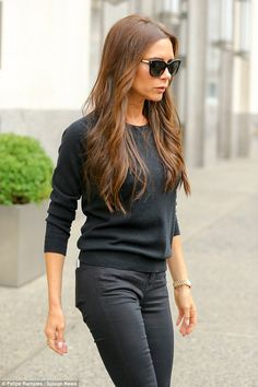 Back to black: Victoria Beckham cut a demure figure in a low-key ensemble as she attended meetings ahead of her NYFW showcase in Midtown Manhattan on Thursday Moda Victoria Beckham, Victoria Beckham Collection, Victoria Fashion, Spice Girls, Black Sweaters, Gray Sweater, Work Fashion, Casual Looks, Celebrity Style