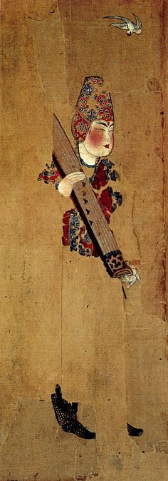 Tang Dynasty. Painting of female musician. Ink and color on silk. Excavated from the tomb of Zhang Lichen at Astana in Turfan, Xinjiang Uygur Autonomous Region. Xinjiang Uighur Autonomous Region Museum.