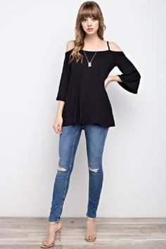 Bamboo Fabric Cold Shoulder Top