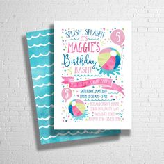 Beach Ball Invitation | Splish Splash | Pool Party Birthday Invite | Birthday Pool Party | Summer Birthday Invitation | DIGITAL FILE ONLY