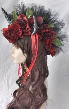 day of the dead unicorn headpiece red roses black horn black ears black net Mohawk by pamzylove on Etsy https://www.etsy.com/listing/227647404/day-of-the-dead-unicorn-headpiece-red