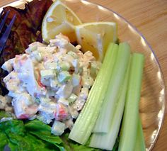 I made this up to go with some celery sticks, but you could serve this on soft rolls or crackers. If you are watching your carbs, be careful of surimi (krab sticks) as it is loaded with carbs, something you might not expect. Seafood Recipes, Gourmet Recipes, Healthy Recipes, Surimi Recipes, Crab Stick, Great Recipes, Favorite Recipes, Crab Salad, Food Crush