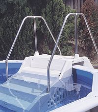 Intex Pool Deck Stairs Ready More Building Around Pool To Be Done Intex Pool Deck