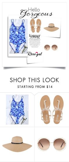 """""""Criss Cross Tie-Dye One Piece Swimsuit"""" by hedija-okanovic ❤ liked on Polyvore featuring Head Over Heels by Dune, Chloé, Post-It and WALL"""