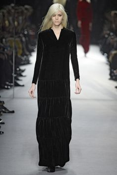 Tom Ford AW14 - Look 28 | Black silk viscose velvet notcher dress.  Black velvet cowboy boots with Swarovski TF.