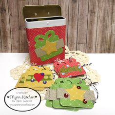 Paper Sweeties | Stitched Tags #3 Sweet Cuts dies, Grape sequins, Strawberry sequins, Marshmallow sequins, Joy Sweet Cuts dies, Snow Friends Sweet Cuts dies, Fun Shapes Sweet Cuts dies, Licorice baker's twine | Mynn Kitchen | Handmade Christmas Tags and Tin