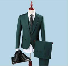 Cheap Slim Fit One Button Groom Tuxedos Groomsman Best Man Party Men Green Suits Mens Business Formal Wear (Jacket+Pants+Vest)