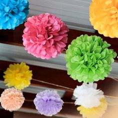 "2PCS DIY 28Colors 10""( 25CM) Paper Flowers Kissing Ball Wedding Home Birthday Party&Wedding Car Decoration Tissue Paper Pom Poms-in Decorative Flowers & Wreaths from Home & Garden on Aliexpress.com 
