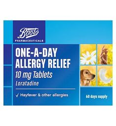 Boots Pharmaceuticals Boots One-a-day Allergy Relief 10mg Tablets 44 Advantage card points. For the relief of symptoms of hayfever (e.g. sneezing, runny and itchy nose and eye irritation). See details below, always read the label FREE Delivery on orders over 45 GBP. http://www.MightGet.com/february-2017-1/boots-pharmaceuticals-boots-one-a-day-allergy-relief-10mg-tablets.asp