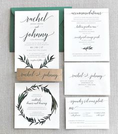Rachel Watercolor Greenery Wreath Wedding Invitation by lvandy27