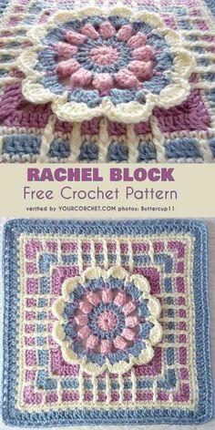 Rachel Block for Afghan Free Pattern #freecrochetpatterns #crochetblock #grannysquare #afghan