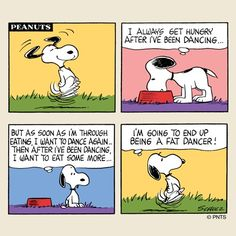 Snoopy ponders eating and dancing Snoopy Comics, Snoopy Cartoon, Peanuts Cartoon, Peanuts Snoopy, Peanuts Comics, Charlie Brown Und Snoopy, Charles Shultz, Pomes, Snoopy Quotes