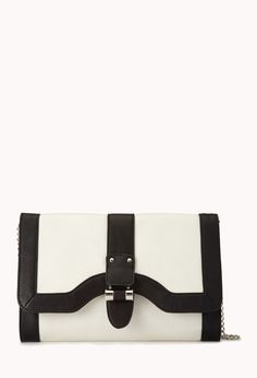 Contrast Faux Leather Clutch | FOREVER21  Black, white and faux leather all over