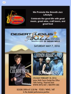 Desert Lexus Jazz at Indian Wells Tennis Garden 2016 featuring Brian Culbertson and Mindi Abair with the Boneshakers.