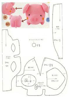 猪猪的图纸, How to Make a Toy Animal Plushie Tutorial Plushies Tutorial , Animal Plushies, Softies & Furries Arts and Crafts, Diy Projects, Sewing Template , animals, plush, soft, toy, pattern, template, sewing, diy , crafts, kawai, recycled, pig, pink, cute