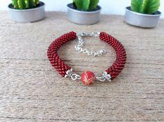 Red minimalist bracelet bead crochet jewelry red gemstone