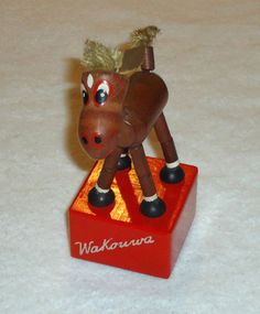 """vintage Wakouwa wooden donkey, leather ears, bristle mane and tail, stamped Brevete, Ausland Switzerland, 9"""" Mane N Tail, Brio, Donkey, Vintage Toys, Puppets, Switzerland, Ears, Stamp, Christmas Ornaments"""