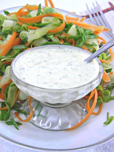 ADDICTED to VEGGIES: Mediterranean Yogurt Dressing with Cucumber & Carrot Ribbons